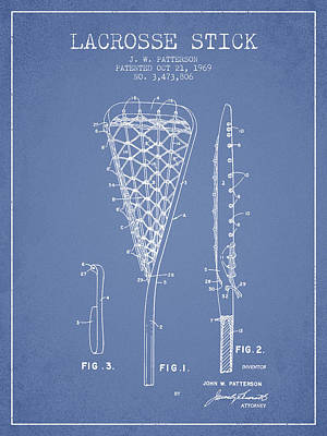 Vintage College Subway Signs Color - Lacrosse Stick Patent from 1970 -  Light Blue by Aged Pixel