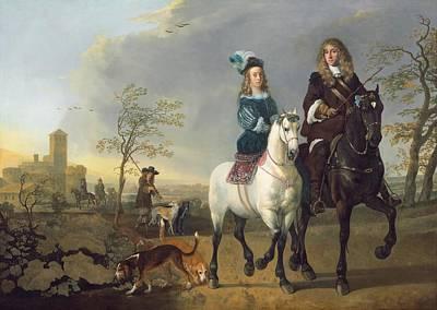 Lady And Gentleman On Horseback Art Print by Aelbert Cuyp
