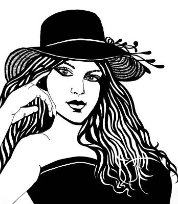 Drawing - Lady In A Hat by Barbara J Blaisdell