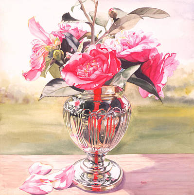 Table Cloth Painting - Lady In Red by Judy Koenig
