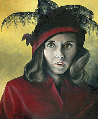 Female Painting - Lady In Red by Mary Ellen Anderson