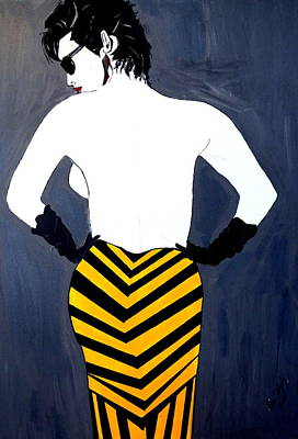 Art Print featuring the painting Lady In Stripes by Nora Shepley
