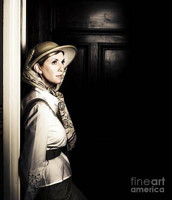 Lady In Vintage Attire At Night Art Print