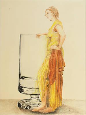 Lady With Glass Original