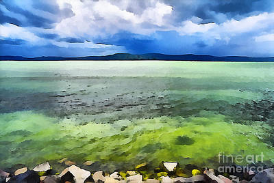 Water Filter Painting - Lake Balaton Hungary by Odon Czintos