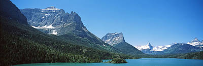 Lake In Front Of Mountains, St. Mary Art Print