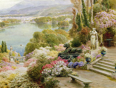 Boats In Water Painting - Lake Maggiore by Ebenezer Wake-Cook