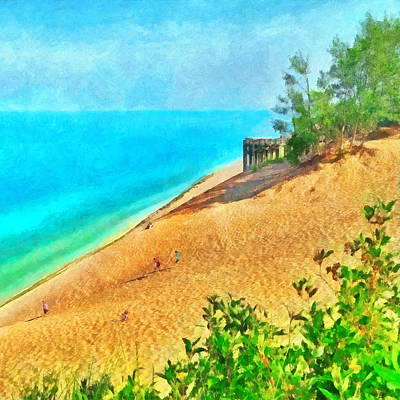 Digital Art - Lake Michigan Overlook On The Pierce Stocking Scenic Drive by Digital Photographic Arts