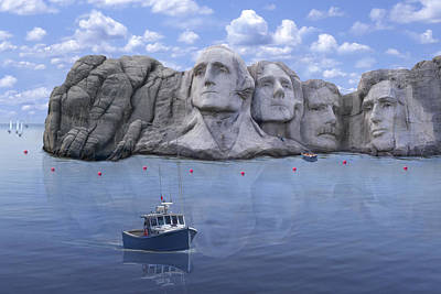 Mount Rushmore Digital Art - Lake Rushmore - Special by Mike McGlothlen