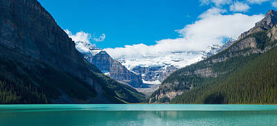 Urban Scenes Photograph - Lake With Canadian Rockies by Panoramic Images