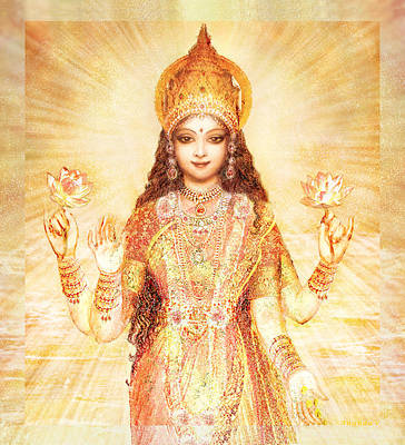 Hindu Goddess Mixed Media - Lakshmi The Goddess Of Fortune And Abundance by Ananda Vdovic