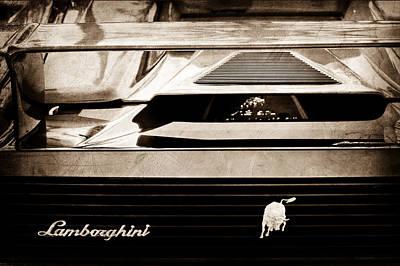 Photograph - Lamborghini Rear View Emblem by Jill Reger