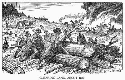 Clear Drawing - Land Clearing, C1830 by Granger