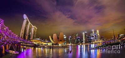 Landscaoe Of Singapore Business District  Art Print