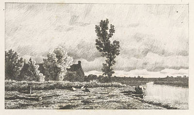 Solitary Drawing - Landscape With A Woman Who Does The Laundry by Alexander Mollinger
