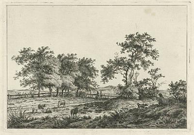 Cartoonist Drawing - Landscape With Cartoonist And Dog, Hermanus Fock by Hermanus Fock