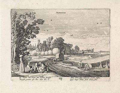 Landscape With Corn Harvest August, Jan Van De Velde II Art Print