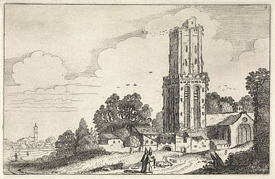 Dilapidated Drawing - Landscape With Dilapidated Church Tower, Jan Van De Velde II by Jan Van De Velde (ii)