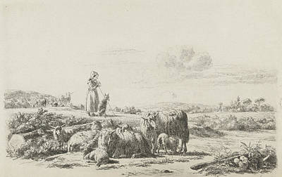 Herding Dog Drawing - Landscape With Shepherd Dog With Sheep Herd by Artokoloro