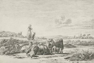 Herding Dog Drawing - Landscape With Shepherd Dog With Sheep Herd by Simon Van Den Berg