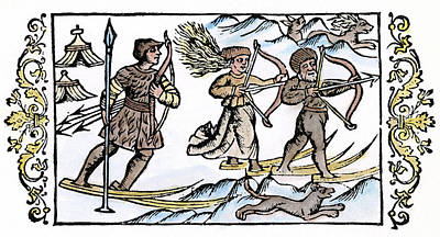 Ski Painting - Lapps Skiing, 1555 by Granger