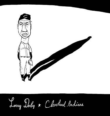 Indian Larry Drawing - Larry Doby Cleveland Indians by Jay Perkins