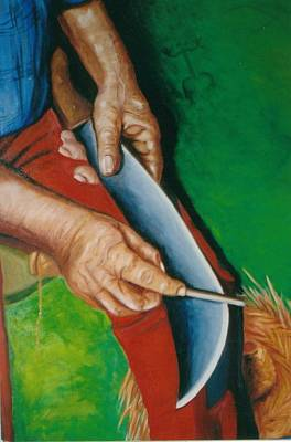 Jibaros Painting - Las Manos De Mi Padre by Mayra  Martinez