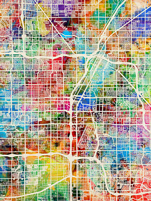 Las Vegas City Street Map Art Print by Michael Tompsett