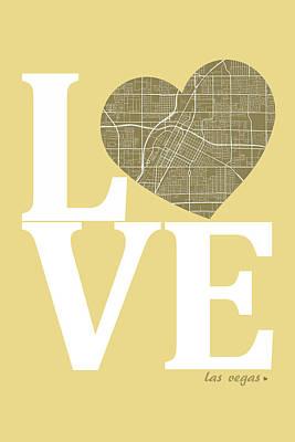 Road Digital Art - Las Vegas Street Map Love - Las Vegas Nevada Road Map In A Heart by Jurq Studio