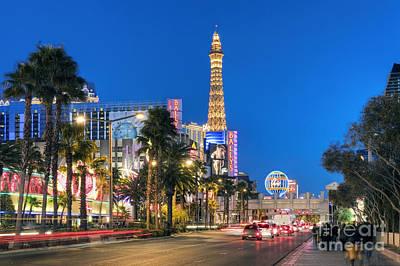 Photograph - Las Vegas Strip Hotel And Casinos Nevada by David Zanzinger