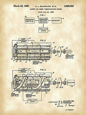 Lithography Digital Art - Laser Patent 1958 - Vintage by Stephen Younts