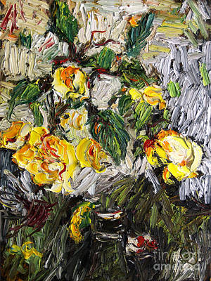 Painting - Last Of The Yellow Roses by Ginette Callaway