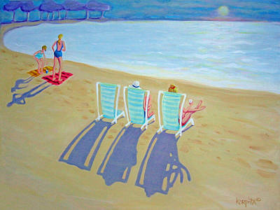 Sunset On Beach - Last Rays Art Print
