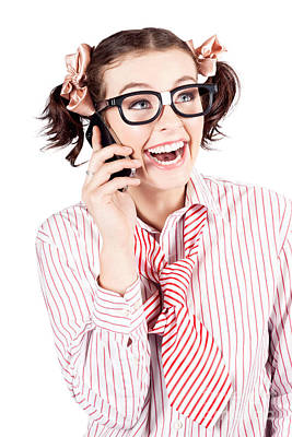 Laughing Nerdy Woman On A Smartphone Art Print by Jorgo Photography - Wall Art Gallery