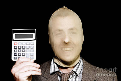 Laughing Robber Holding Calculator On Black Art Print by Jorgo Photography - Wall Art Gallery