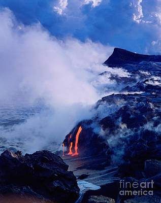 Photograph - Lava Flowing Into The Ocean, Hawaii by Douglas Peebles