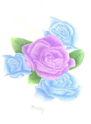 Lavender Drawing - Lavender Blue Quartet by Dusty Reed
