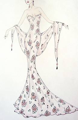 Damask Drawing - Lavender Damask Gown by Christine Corretti