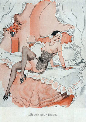 Prostitution Drawing - Le Sourire  1920s France Erotica by The Advertising Archives