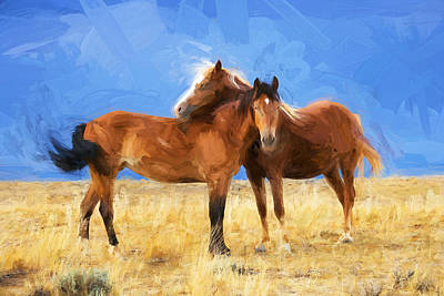Photograph - Lean On Me Wild Mustang Painted  by Rich Franco