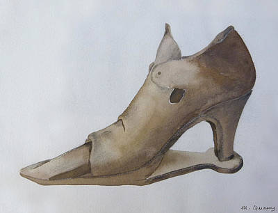 Social History Painting - Leather Shoe - 16th Century by Mary Quarry
