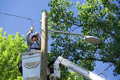 Electrician Photograph - Led Street Light Installation by Jim West