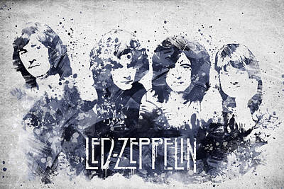 Musicians Mixed Media - Led Zeppelin Portrait by Aged Pixel