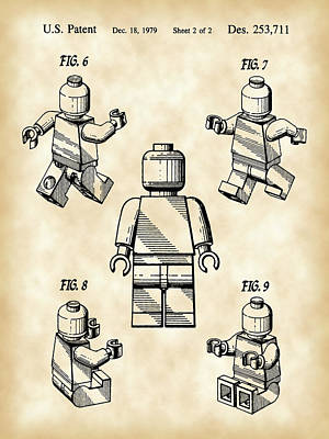 Lego Digital Art - Lego Figure Patent 1979 - Vintage by Stephen Younts