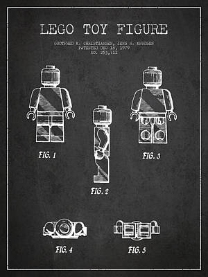 Lego Toy Figure Patent - Dark Art Print by Aged Pixel