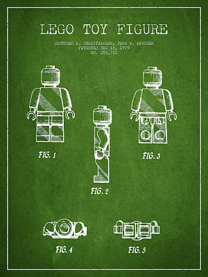 Lego Patent Digital Art - Lego Toy Figure Patent - Green by Aged Pixel