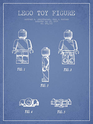 Lego Toy Figure Patent - Light Blue Art Print