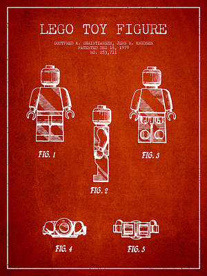 Lego Patent Digital Art - Lego Toy Figure Patent - Red by Aged Pixel