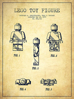 Lego Drawing - Lego Toy Figure Patent - Vintage by Aged Pixel