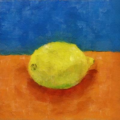 Lemon With Blue And Orange Art Print by Michelle Calkins